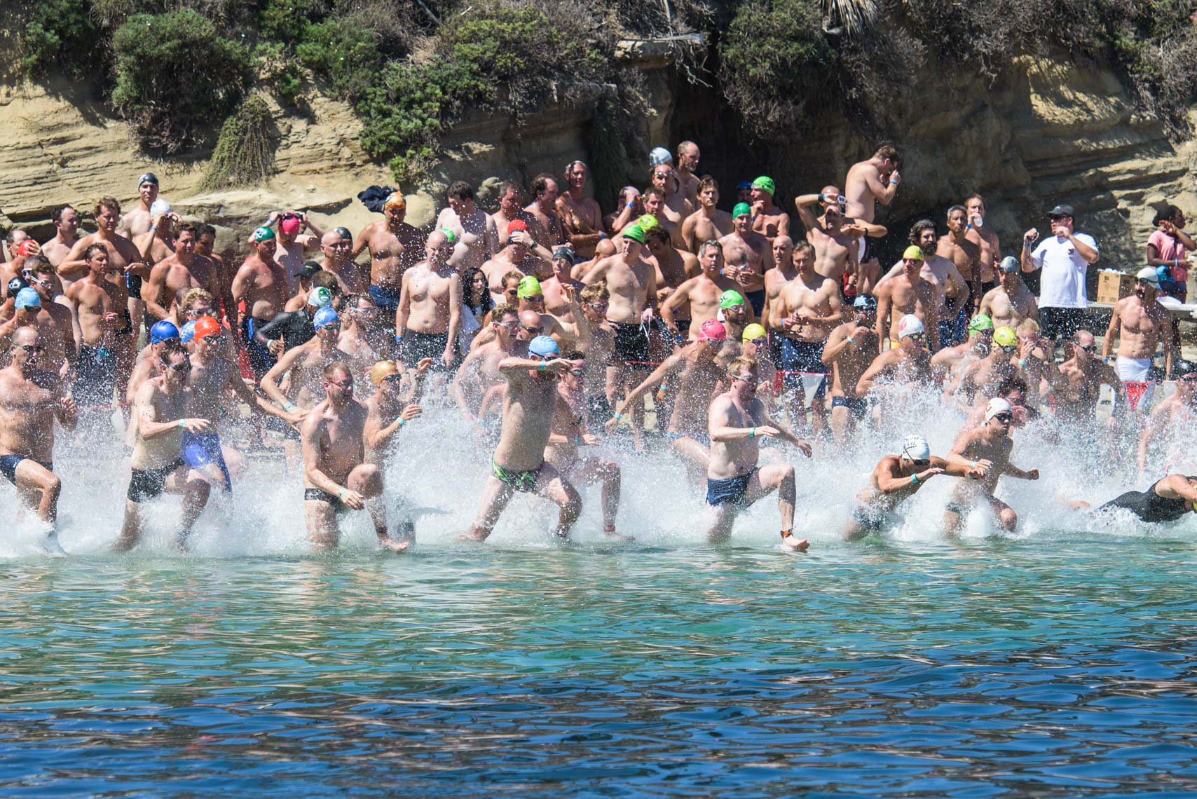 open water swimming stock image